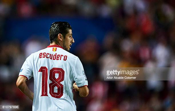 Sergio Escudero of Sevilla FC looks on during the UEFA Champions League match between Sevilla FC and Olympique Lyonnais at Sanchez Pizjuan stadium on...