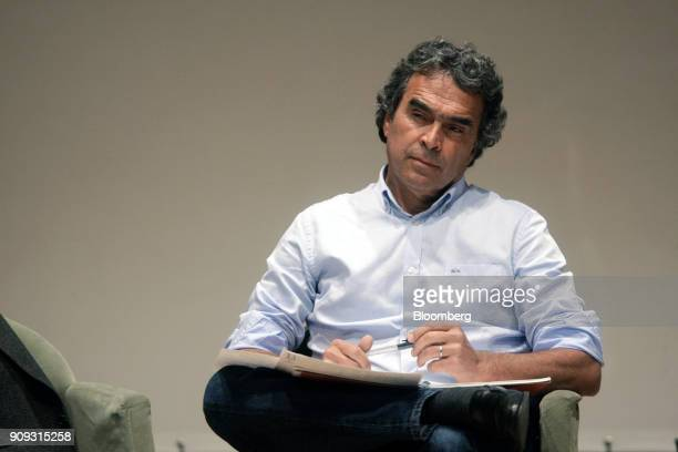 Sergio Fajardo presidential candidate for the Coalicion Colombia Party listens during a National Environmental Forum discussion in Bogota Colombia on...