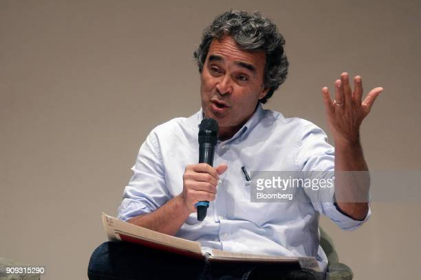 Sergio Fajardo presidential candidate for the Coalicion Colombia Party speaks during a National Environmental Forum discussion in Bogota Colombia on...
