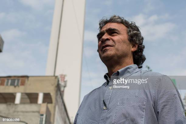 Sergio Fajardo presidential candidate for the Coalicion Colombia Party and former mayor of Medellin walks through a neighborhood during a campaign...