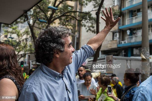 Sergio Fajardo presidential candidate for the Coalicion Colombia Party and former mayor of Medellin waves to attendees during a campaign event in...