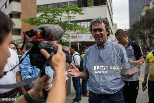 Sergio Fajardo presidential candidate for the Coalicion Colombia Party and former mayor of Medellin speaks while filming a campaign video during an...
