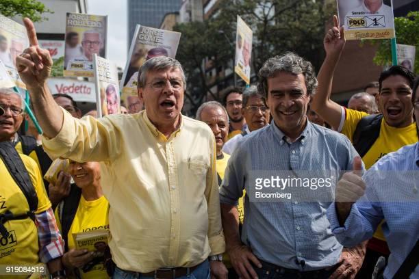 Sergio Fajardo presidential candidate for the Coalicion Colombia Party and former mayor of Medellin right smiles while Jose Gomez Coalicion Colombia...