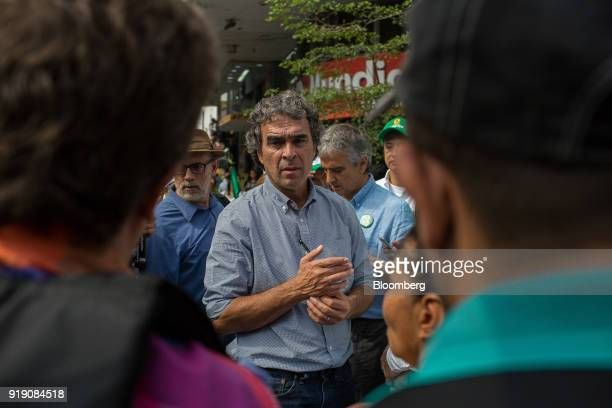 Sergio Fajardo presidential candidate for the Coalicion Colombia Party and former mayor of Medellin center speaks with attendees during a campaign...