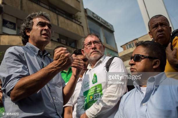 Sergio Fajardo presidential candidate for the Coalicion Colombia Party and former mayor of Medellin left speaks with attendees during a campaign...