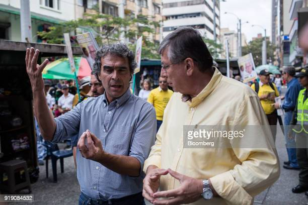 Sergio Fajardo presidential candidate for the Coalicion Colombia Party and former mayor of Medellin left speaks with Jose Gomez Coalicion Colombia...