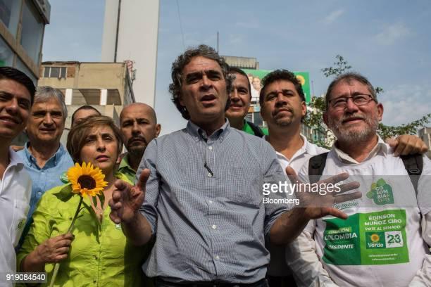 Sergio Fajardo presidential candidate for the Coalicion Colombia Party and former mayor of Medellin center walks with Sonia Vasquez Mejia Coalicion...