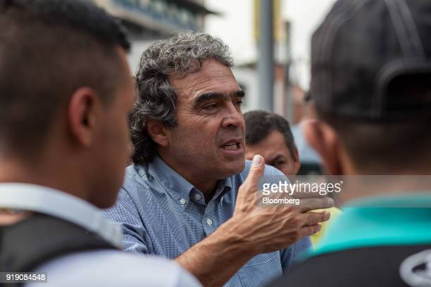 Sergio Fajardo presidential candidate for the Coalicion Colombia Party and former mayor of Medellin speaks with attendees during a campaign event in...