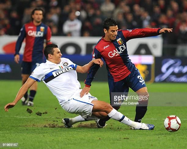 Sergio Floccari of Genoa CFC battles for the ball against Da Silva Ferreira Lucimar Lucio of FC Inter Milan during the Serie A match between Genoa...