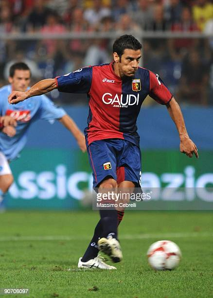 Sergio Floccari of Genoa CFC scores from the penalty spot during the Serie A match between Genoa CFC and SSC Napoli at Stadio Luigi Ferraris on...