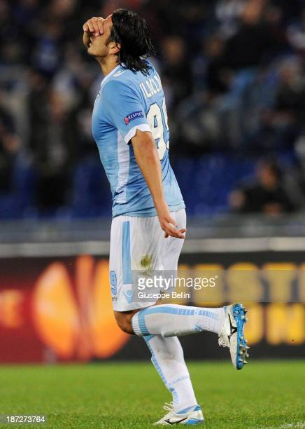 Sergio Floccari of Lazio celebrates after scoring their second goal during the UEFA Europa League Group J match between SS Lazio and Apollon Limassol...