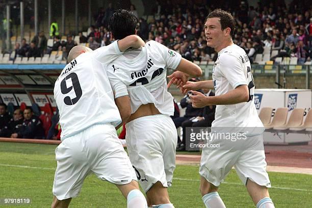 Sergio Floccari of Lazio celebrates his goal with Tommaso Rocchi during the Serie A match between Cagliari Calcio and SS Lazio at Stadio Sant'Elia on...
