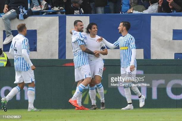 Sergio Floccari of SPAL celebrates after scoring his team's second goal during the Serie A match between SPAL and Juventus at Stadio Paolo Mazza on...