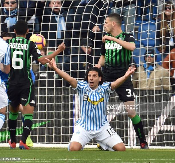 Sergio Floccari of SPAL in action during the Serie A match between US Sassuolo and SPAL at Mapei Stadium Citta' del Tricolore on February 24 2019 in...