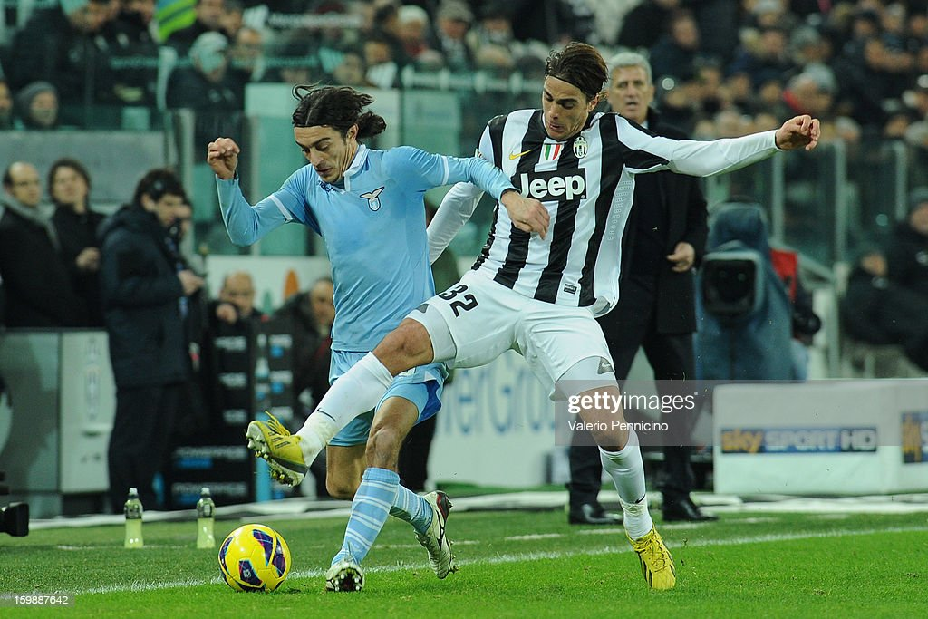 Sergio Floccari (L) of S.S. Lazio is challenged by Alessandro Matri of Juventus FC during the TIM cup match between Juventus FC and S.S. Lazio at Juventus Arena on January 22, 2013 in Turin, Italy.