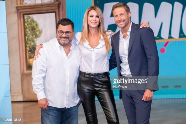 """Sergio Friscia, Adriana Volpe, Massimiliano Ossini, in """"Mezzo Giorno in Famiglia"""" in Rome, Italy, on September 18, 2018."""