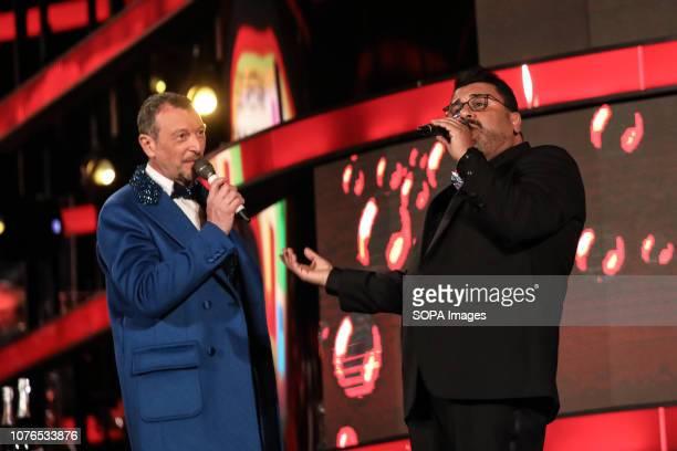 MATERA ITALY MATERA MT ITALY Sergio Friscia seen with Amadeus the presenter performing during Rai1's New Year's television program L'anno che verrà...