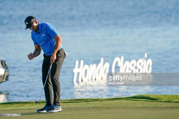 Sergio García of Spain fist pumps after making a putt on the eighteenth hole green during the first round of The Honda Classic at PGA National...