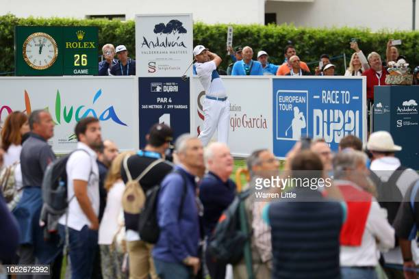 Sergio García of Spain hits their tee shot on the first hole during the third round on day four of Andalucia Valderrama Masters at Real Club...
