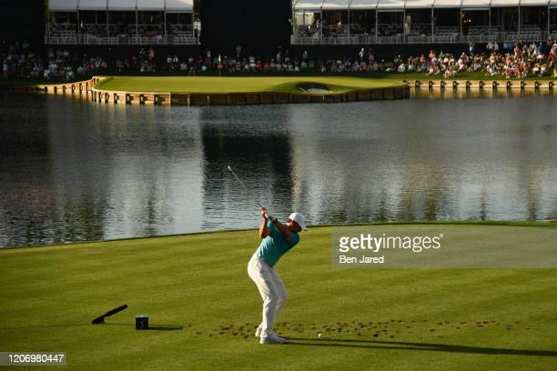 Sergio García of Spain swings on the 17th tee box during the first round of THE PLAYERS Championship on THE PLAYERS Stadium Course at TPC Sawgrass on...