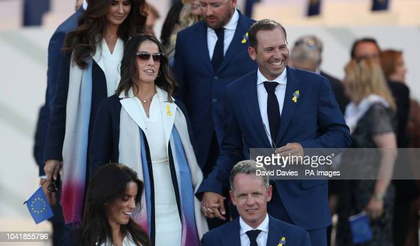 Sergio Garcia and Angela Akins during the Ryder Cup Opening Ceremony at Le Golf National SaintQuentinenYvelines Paris