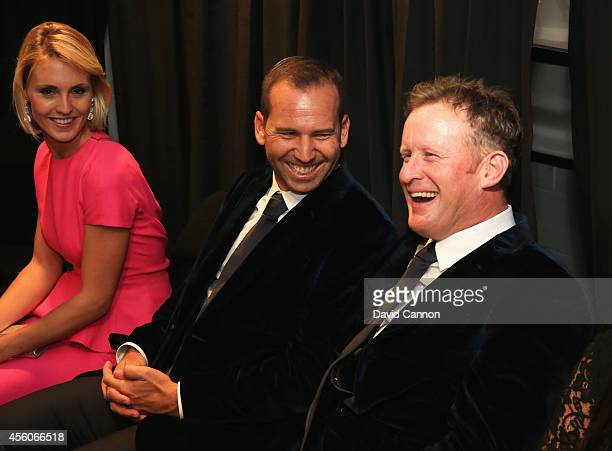 Sergio Garcia and Jamie Donaldson of Europe share a joke with Katharina Boehm partner of Sergio Garcia during the 2014 Ryder Cup Gala Concert at the...