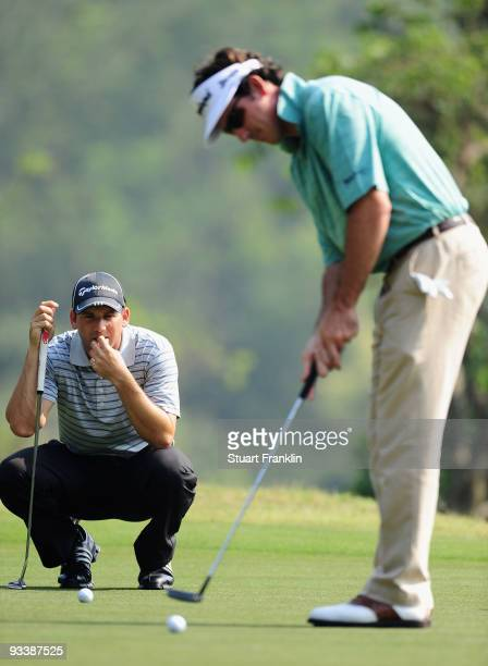 Sergio Garcia and teammate Gonzalo Fernandez Castano of Spain during pro am the Omega Mission Hills World Cup on the Olazabal course on November 25...
