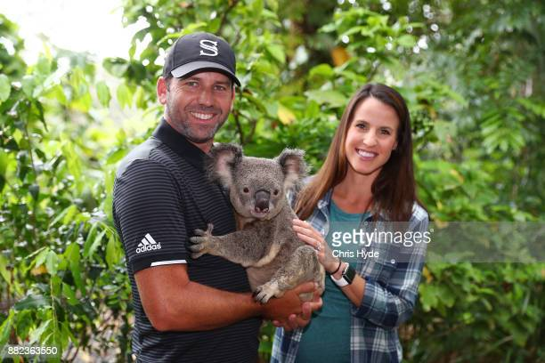 Sergio Garcia and wife Angela Hamann hold a koala during a visit to Currumbin wildlife sanctuary during the 2017 Australian PGA Championship at Royal...