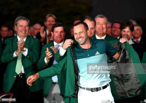 Sergio Garcia celebrates as he prepares to receive his green jacket for winning the Masters Tournament on Sunday April 9 2017 at Augusta National...
