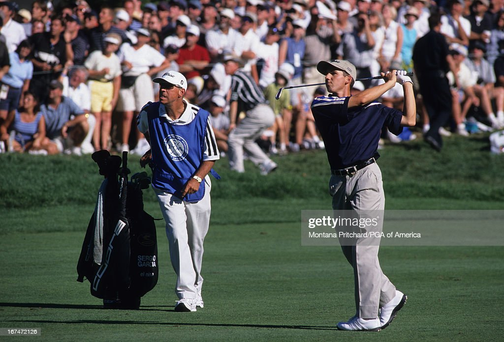 Sergio Garcia during round four of the 1999 PGA Championship held at Medinah Country Club in Medinah, Illinois, Sunday, August 15, 1999. (Photo by The PGA of America). : News Photo