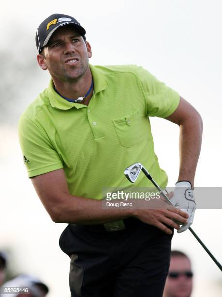 Sergio Garcia follows his tee shot on the 17th hole during the first round of The Honda Classic at PGA National Resort and Spa on March 5 2009 in...