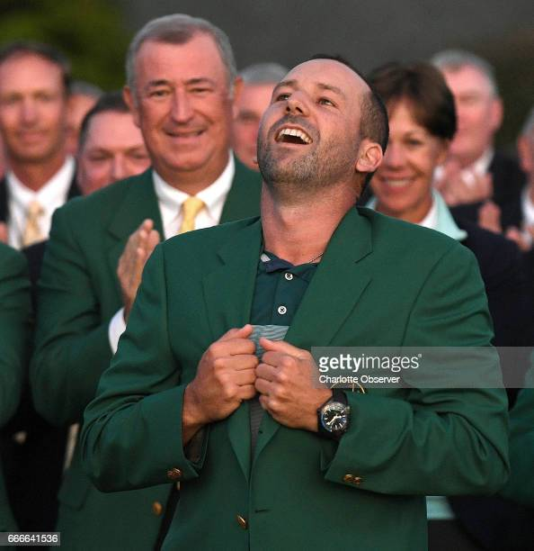 Sergio Garcia gets the feeling of his green jacket after winning the Masters Tournament on Sunday April 9 2017 Garcia won the tournament by defeating...