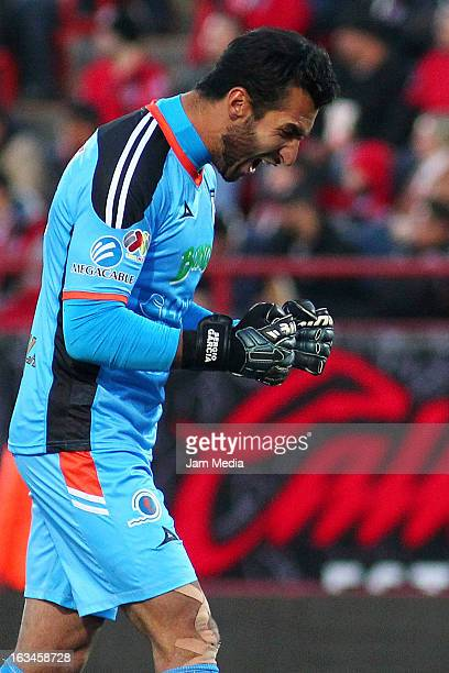 Sergio Garcia goalkeeper of Queretaro celebrates a goal against Tijuana during a match between Tijuana and Queretaro as part of the Clausura 2013...