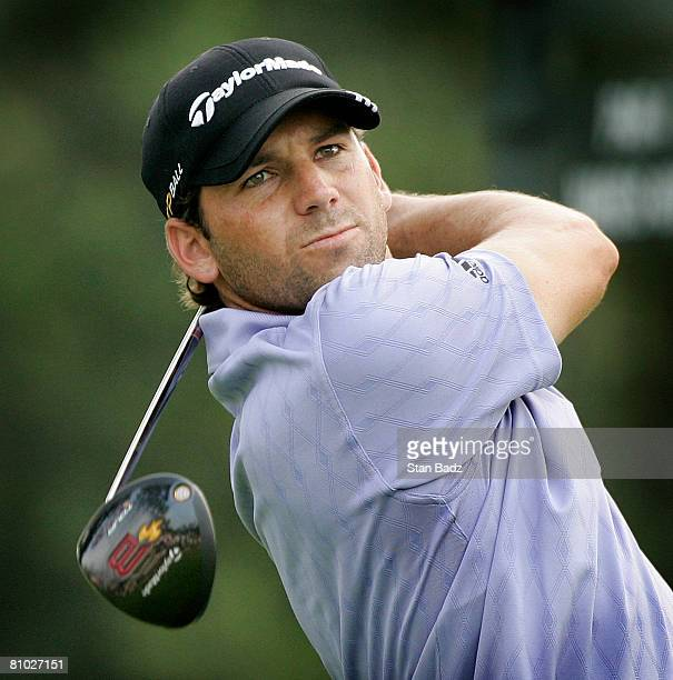 Sergio Garcia hits from the 14th tee box during the first round of THE PLAYERS Championship on THE PLAYERS Stadium Course at TPC Sawgrass held on May...
