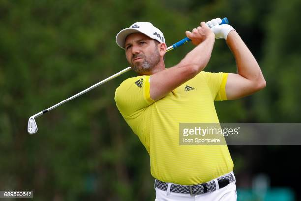 Sergio Garcia hits his tee shot on during the final round of the PGA Dean Deluca Invitational on May 28 2017 at Colonial Country Club in Fort Worth TX