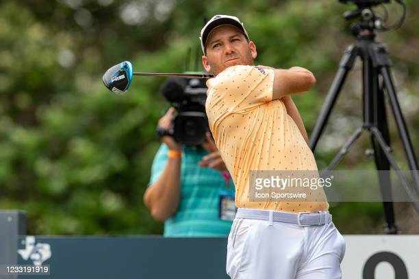 Sergio Garcia hits his tee shot on during the final round of the Charles Schwab Challenge on May 30, 2021 at Colonial Country Club in Fort Worth, TX.