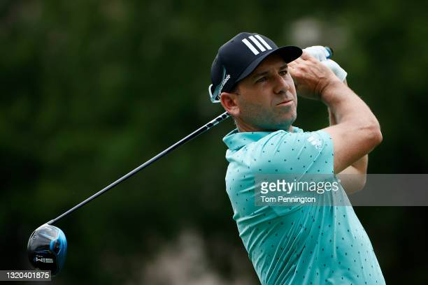 Sergio Garcia hits his tee shot on the 18th hole during the first round of the Charles Schwab Challenge at Colonial Country Club on May 27, 2021 in...