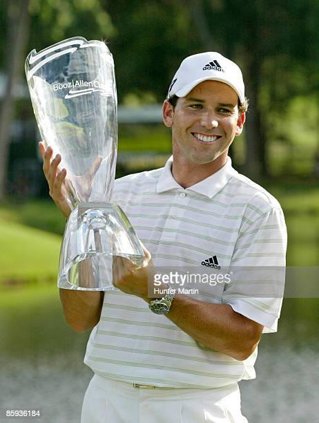 Sergio Garcia holds the championship trophy after winning the Booz Allen Classic at Congressional CC Bethesda MD on Sunday June 12 2005