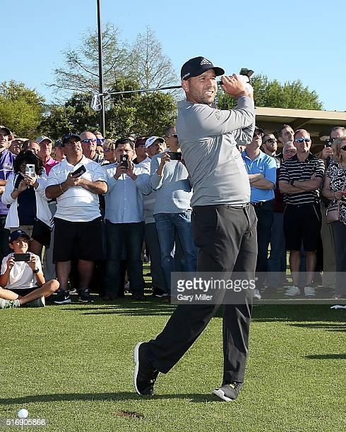 Sergio Garcia hosts a golf clinic at Golfsmith on March 21 2016 in Austin Texas