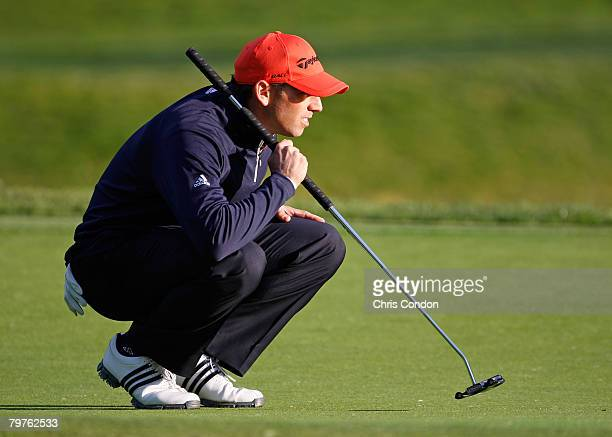 Sergio Garcia lines up a putt on during the first round of the Northern Trust Open held on February 14 2008 at Riviera Country Club in Pacific...