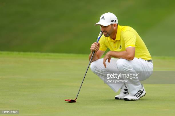 Sergio Garcia lines up his birdie putt on during the final round of the PGA Dean Deluca Invitational on May 28 2017 at Colonial Country Club in Fort...