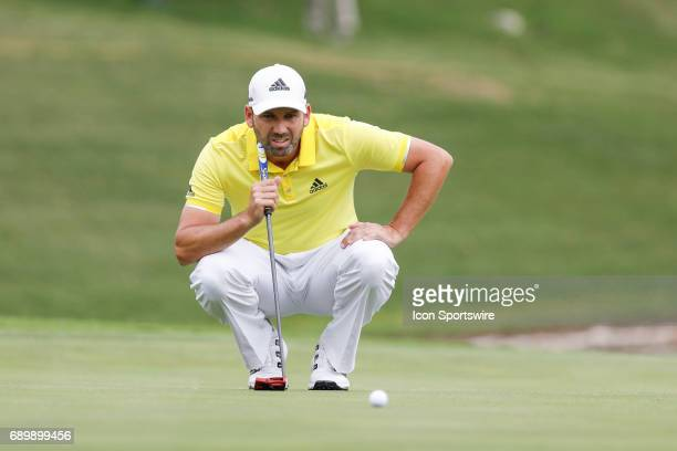 Sergio Garcia lines up his putt on during the final round of the PGA Dean Deluca Invitational on May 28 2017 at Colonial Country Club in Fort Worth TX