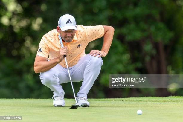Sergio Garcia lines up his putt on during the final round of the Charles Schwab Challenge on May 30, 2021 at Colonial Country Club in Fort Worth, TX.
