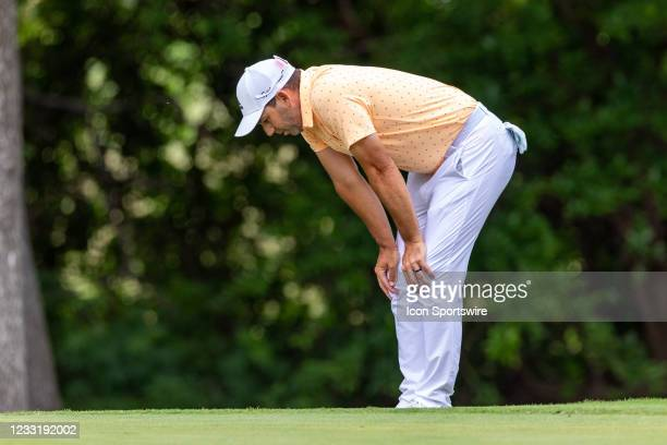 Sergio Garcia looks at his lie on during the final round of the Charles Schwab Challenge on May 30, 2021 at Colonial Country Club in Fort Worth, TX.