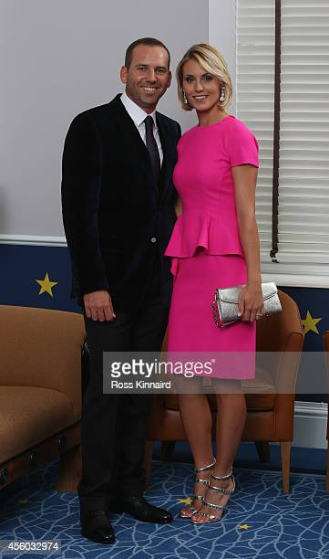 Sergio Garcia of Europe and his partner Katharina Boehm pose for a photograph at the Gleneagles Hotel before leaving for the Ryder Cup Team Gala...