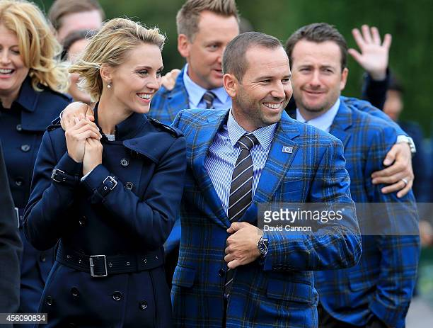 Sergio Garcia of Europe and partner Katharina Boehm leave the Opening Ceremony ahead of the 40th Ryder Cup at Gleneagles on September 25, 2014 in...