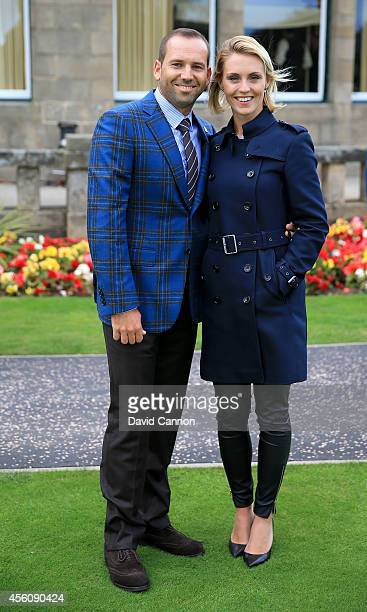 Sergio Garcia of Europe and partner Katharina Boehm pose after the Opening Ceremony ahead of the 40th Ryder Cup at Gleneagles on September 25 2014 in...