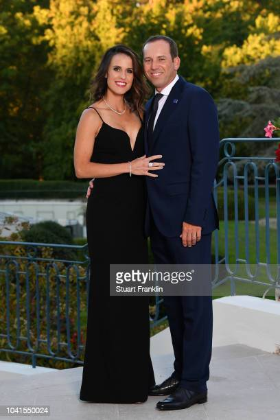 Sergio Garcia of Europe and wife Angela Garcia pose for a portrait before the Gala Dinner prior to the 2018 Ryder Cup on September 26 2018 in...