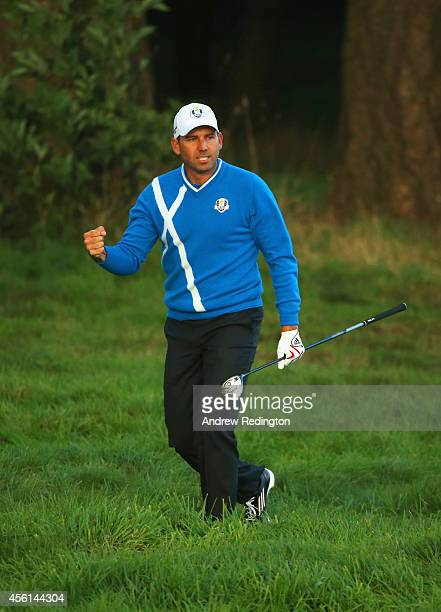 Sergio Garcia of Europe celebrates his approach shot to the 18th green during the Afternoon Foursomes of the 2014 Ryder Cup on the PGA Centenary...