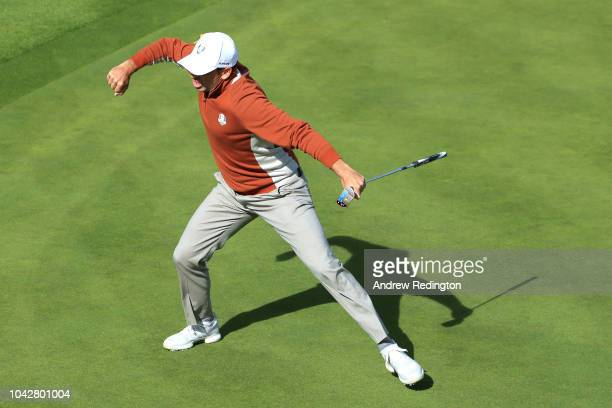Sergio Garcia of Europe celebrates winning the match on the 17th green during the morning fourball matches of the 2018 Ryder Cup at Le Golf National...